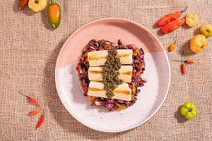 Feijão azuki com legumes e pupunha ao pesto (low carb/ glúten free/ lac free/ veg) - 400g