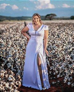 Vestido de Noiva Plus Size Manga Curta