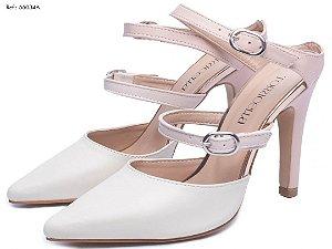 Sapato scarpin branco e rosé