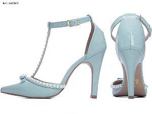 Sapato Scarpin Azul Bebe e Perolas Decorado