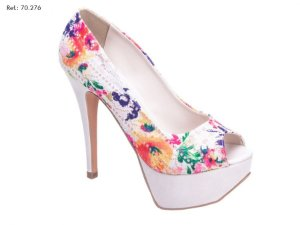 Sapato Floral Colorido Meia Pata