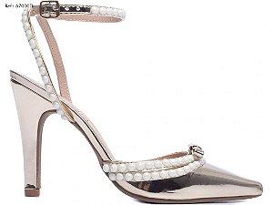 Sapato Scarpin Dourado Perolas