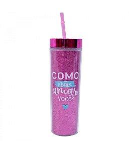 Copo Canudo Cilindro Pink 450ml