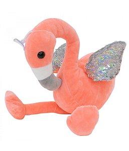 Flamingo Rosa Asas Lantejoulas Pelúcia