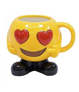 Caneca Porcelana Emoticon Olhos De Coração 400ml
