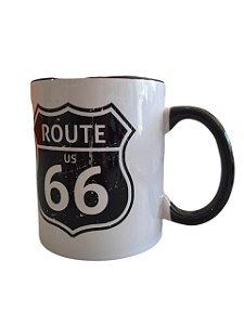 Caneca De Porcelana Branca Route 66
