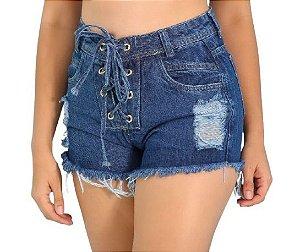 Short com ilhós na berguilha e cadarço jeans
