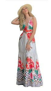 Vestido Longo Maxi Flor Trançado nas Costas