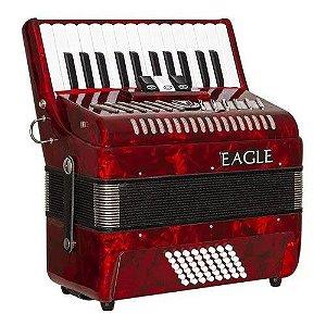 Acordeon Eagle EGA0348 Vermelho 48 Baixos 26 Teclas Com Bag