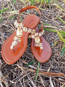 Sandália de pedraria caramelo ouro N 36