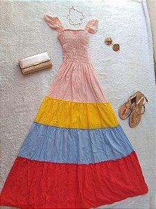 Vestido longo de viscose tamanho único