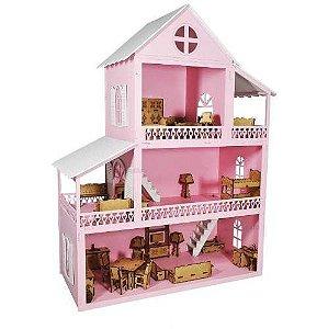 Casa De Boneca 60 Cm Com Móveis
