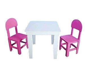 Mesa Infantil Abre Tampo Com 2 Cadeiras