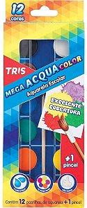 AQUARELA COLOR COM 12 CORES TRIS COM PINCEL