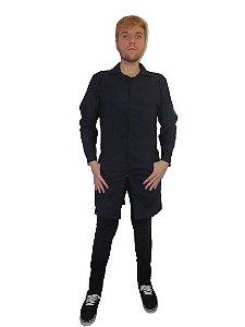 Jaleco ônix masculino, gola esporte, com zíper, nas cores preto ou azul marinho.