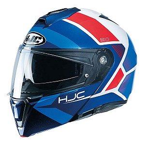 Capacete Hjc I90 Hollen Articulado Viseira Solar Azul