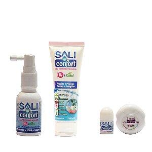 kit Saliconfort Spray e Gel  grátis hidratante labial contra boca seca