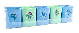 Kit Mundo da Lua com 5 Porta Objetos Dello Azul e Verde 2191SS