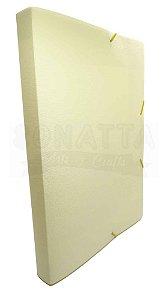 Pasta Aba Elástico Ofício Lombo 3cm Dello Linho Serena Amarelo Pastel 0248AP