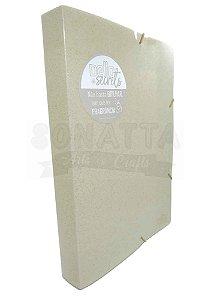 Pasta Perfumada Aba Elástico Ofício Lombo 4cm Dello Secrets Ouro 0276AU