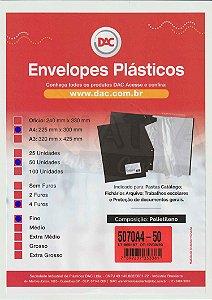 50 Envelopes Plásticos Finos A4 com 4 furos DAC 5070A4-50
