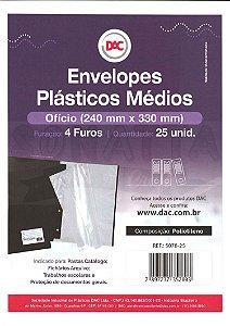 25 Envelopes Plásticos Médios tamanho Ofício Com 4 furos DAC 5078-25