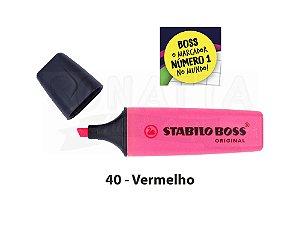 Marcador de Texto STABILO Boss Original - Vermelho 40