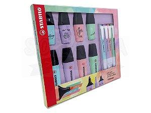Kit Marcador de Texto STABILO Boss Pastel + Mini Pastellove + Swing Cool Pastel com 12 un