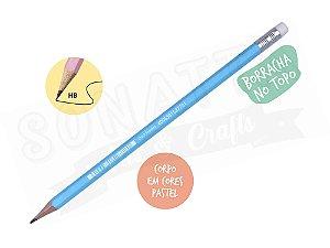 Lápis Preto STABILO Swano HB com Borracha - Corpo Azul Pastel