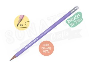 Lápis Preto STABILO Swano HB com Borracha - Corpo Lilás Pastel