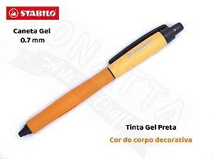 Caneta Gel STABILO Palette 0.7mm 268/1 - Corpo Laranja - Tinta Preta