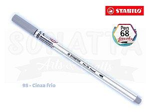 Caneta STABILO Pen 68 Brush Aquarelável - Cinza Frio 95