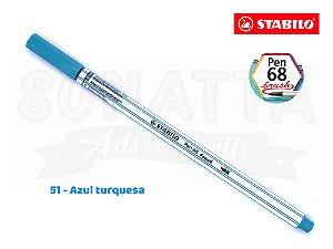 Caneta STABILO Pen 68 Brush Aquarelável - Azul Turquesa 51