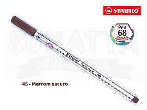 Caneta STABILO Pen 68 Brush Aquarelável - Marrom Escuro 45