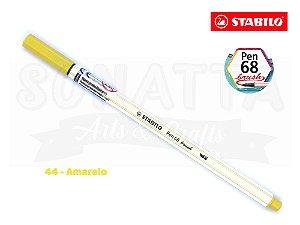 Caneta STABILO Pen 68 Brush Aquarelável - Amarelo 44