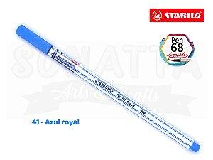 Caneta STABILO Pen 68 Brush Aquarelável - Azul Royal 41