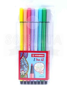 Estojo Canetas STABILO Pen 68 com 8 Cores Pastel - 68/8-01