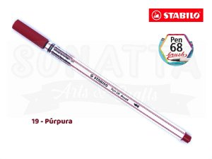 Caneta STABILO Pen 68 Brush Aquarelável - Púrpura 19