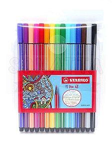 Estojo Canetas STABILO Pen 68 com 15 Cores - 6815-1
