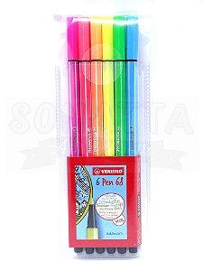 Estojo Canetas STABILO Pen 68 com 6 Cores Neon - 6806-1