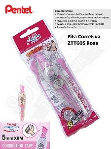 Fita Corretiva PENTEL Correction Tape Rosa - ZTT605P