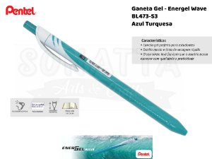 Caneta PENTEL Energel Wave Azul Turquesa - BL437-S3