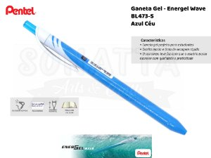 Caneta PENTEL Energel Wave Azul Céu - BL437-S