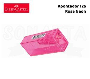 Apontador FABER-CASTELL com Depósito 125FLVZF - Rosa Neon