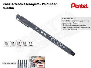 Caneta Técnica Nanquim PENTEL Pointliner 0.3mm – 3ATH