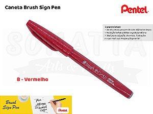 Brush PENTEL Sign Pen Vermelha - SES15C-B