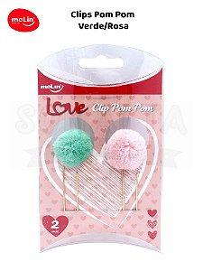 Clips Pom Pom MOLIN Caixa com 2un 23070 - Verde e Rosa