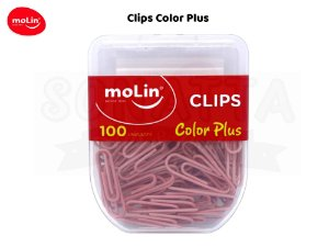 Clips MOLIN Color Plus Rosa 28mm com 100 unidades - 23080