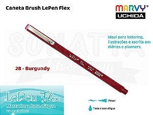 Marcador Artístico Marvy Uchida Ponta Pincel Le Pen Flex 480028 - Burgundy