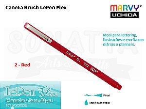 Marcador Artístico Marvy Uchida Ponta Pincel Le Pen Flex 48002 - Red
